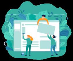 Jonajo Consulting UI/UX Design Services - People adjusting web design