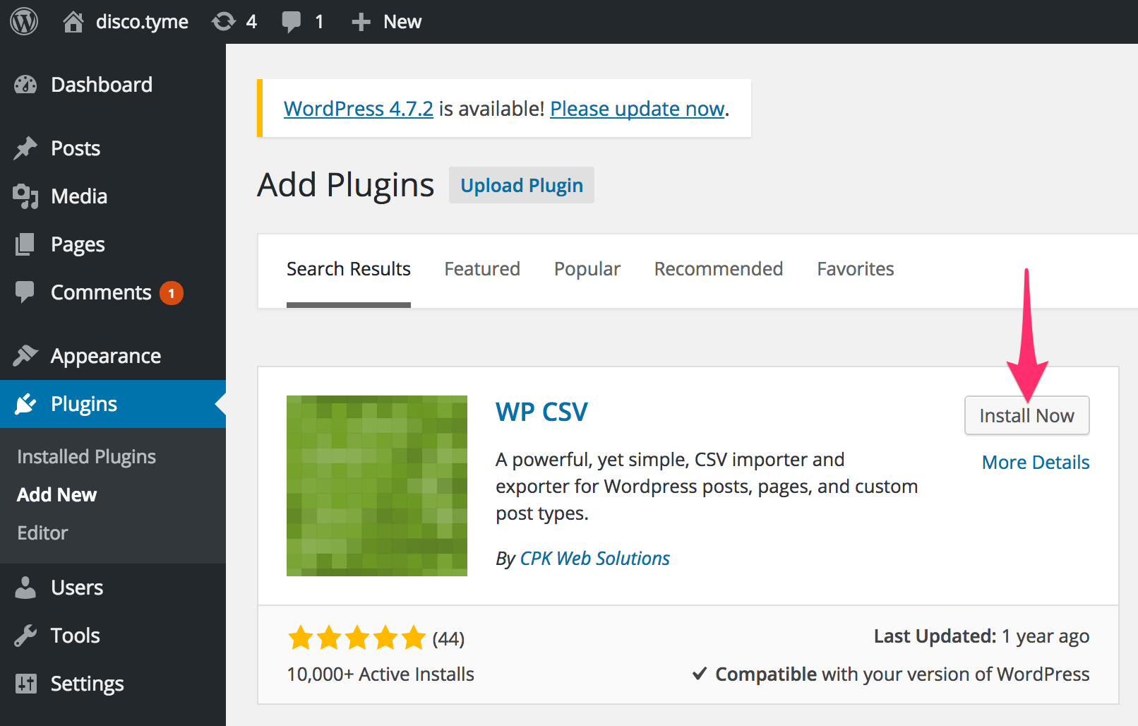 Search for WP CSV on the plugin marketplace.