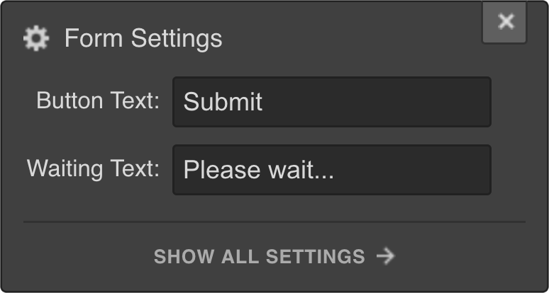 Webflow Form Submit Button Settings