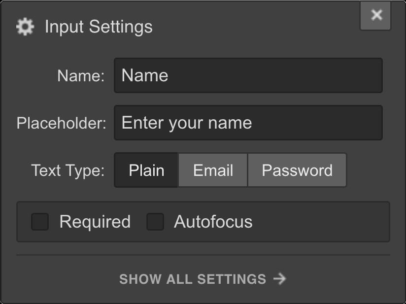 Webflow Form input settings
