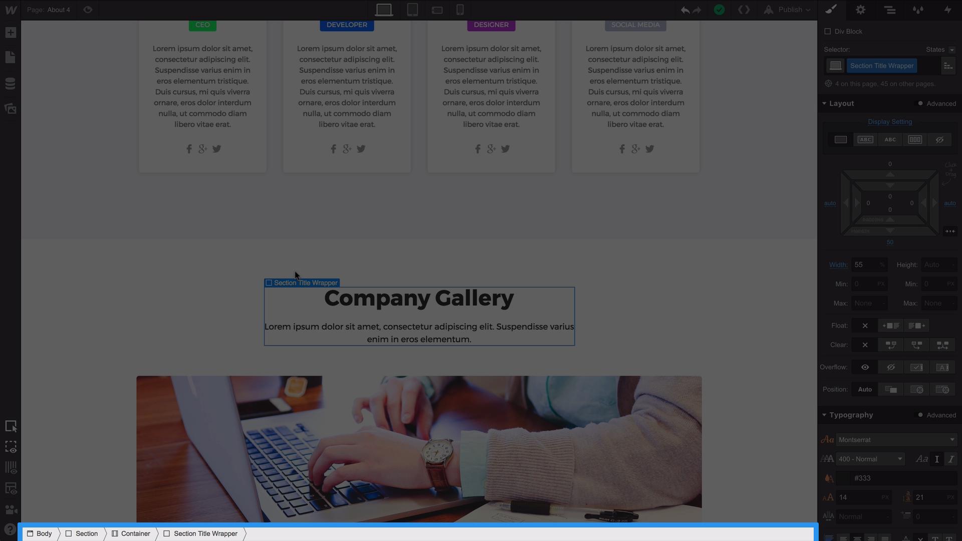The Webflow breadcrumb navigation bar