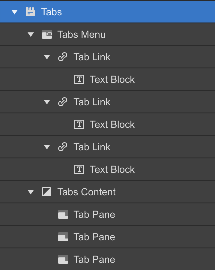 Webflow Tabs component anatomy