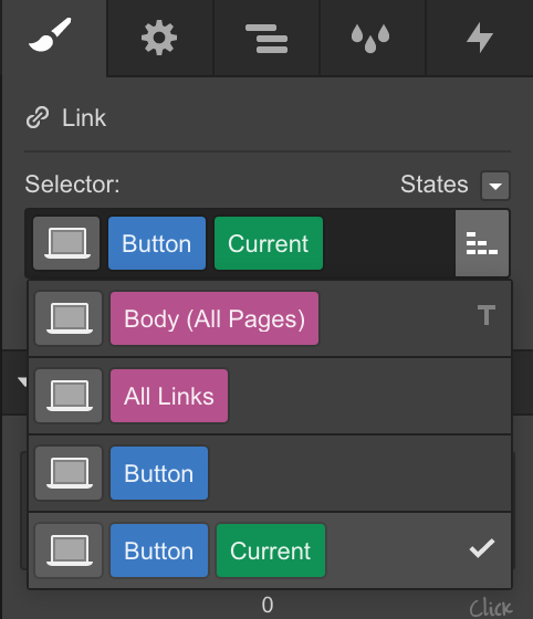 Styling states in Webflow