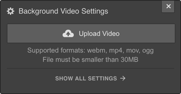 Webflow Background Video Settings