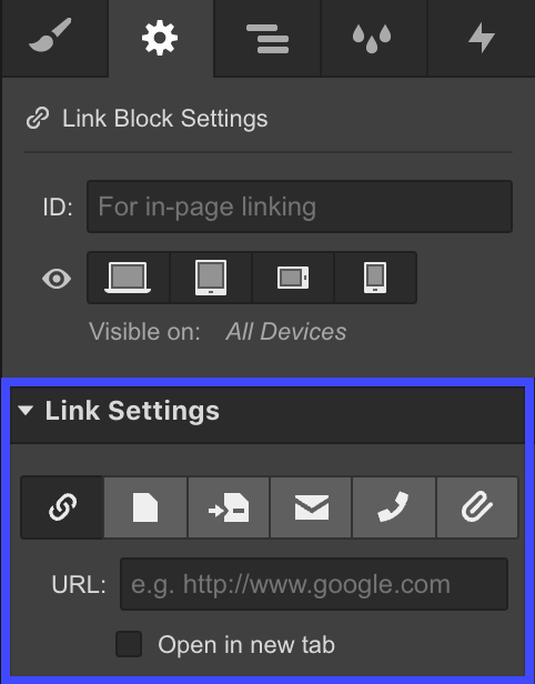Webflow Link Settings