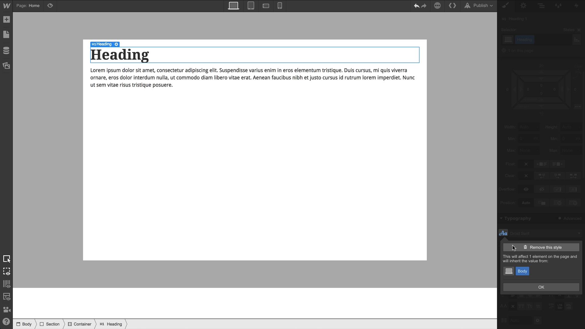 Text Style Inheritance | Webflow University