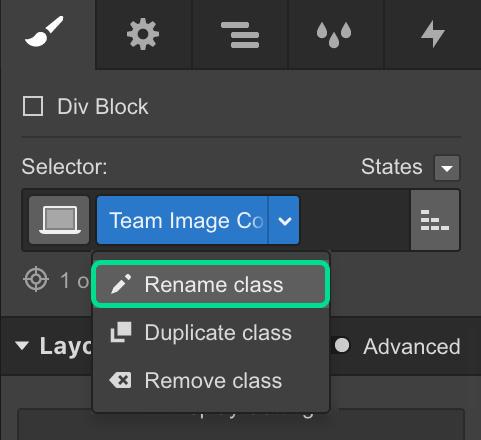Rename classes in Webflow