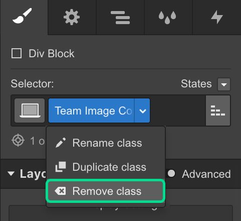 Remove classes in Webflow