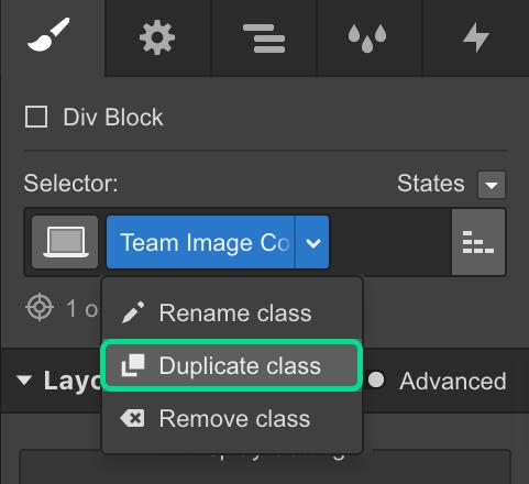 Duplicate classes in Webflow