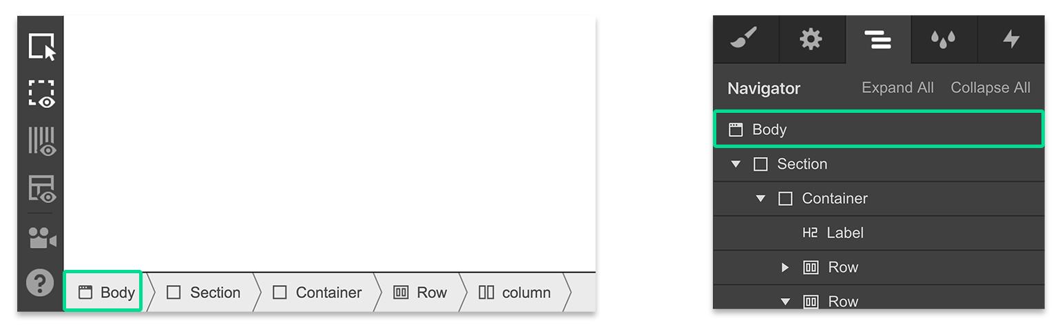 The body element in Webflow