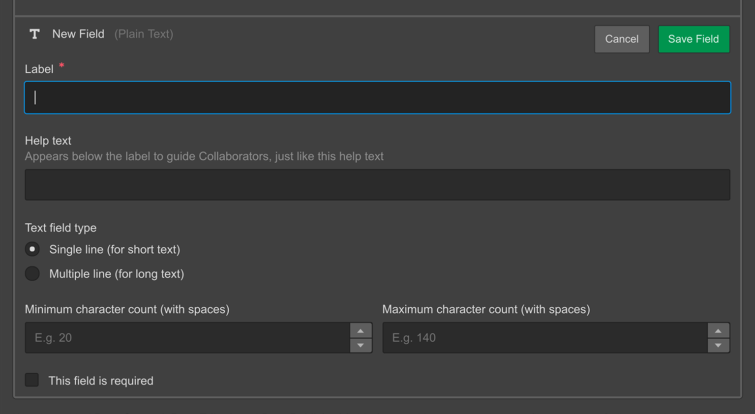 The Plain text field in the Webflow CMS