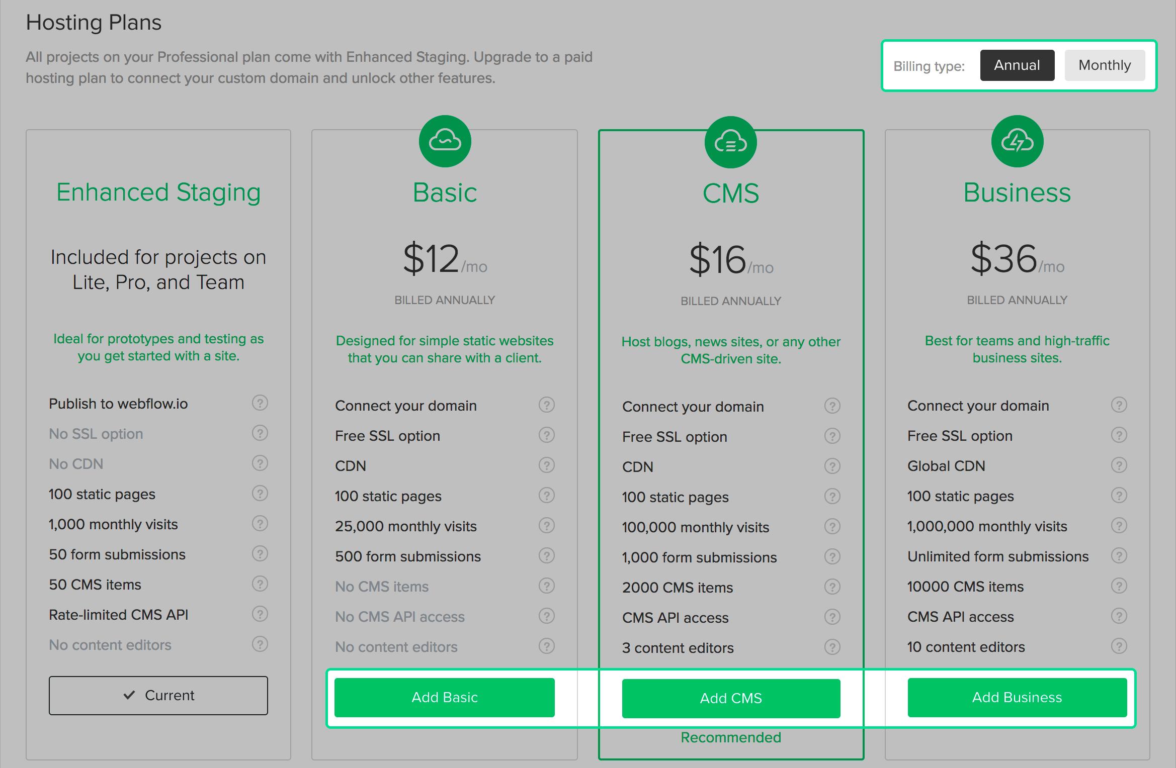 Add or upgrade a Webflow hosting plan