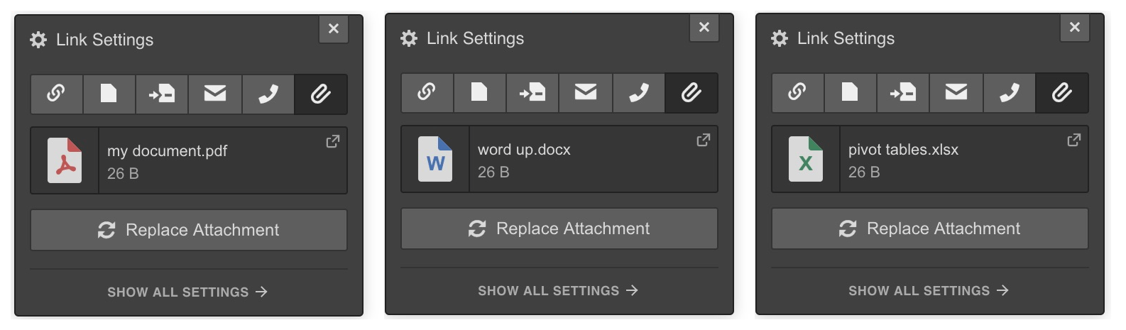 Webflow file attachment settings