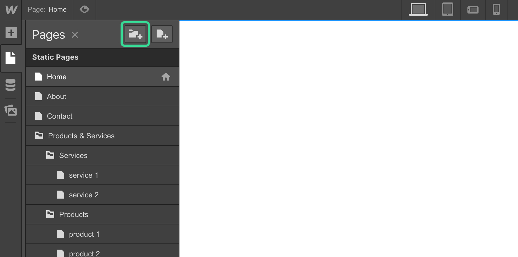 Adding folders in Webflow