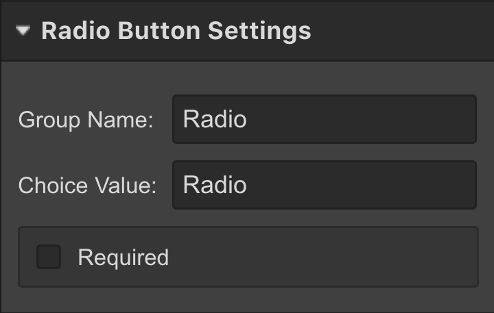 Webflow radio buttons