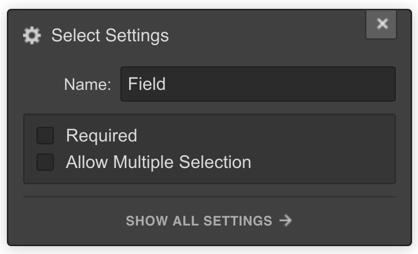 Select field in Webflow