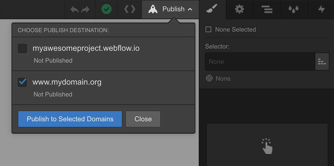 Publishing your Webflow project in the Designer
