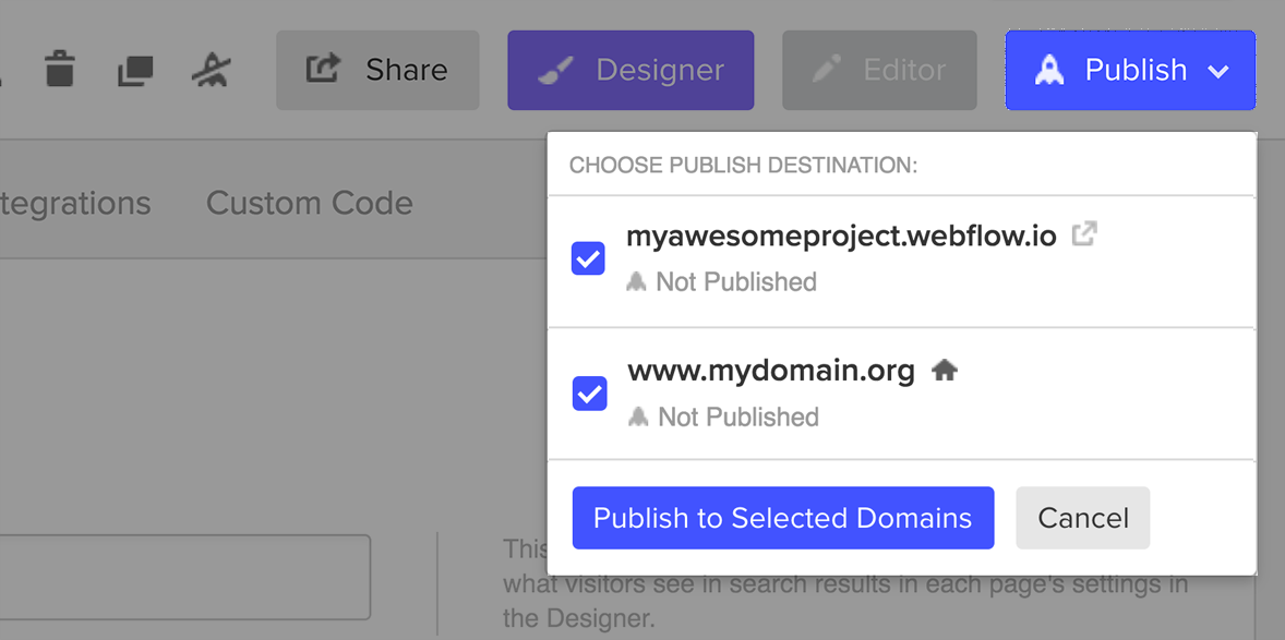 ‍Publishing your Webflow project from the Project Settings