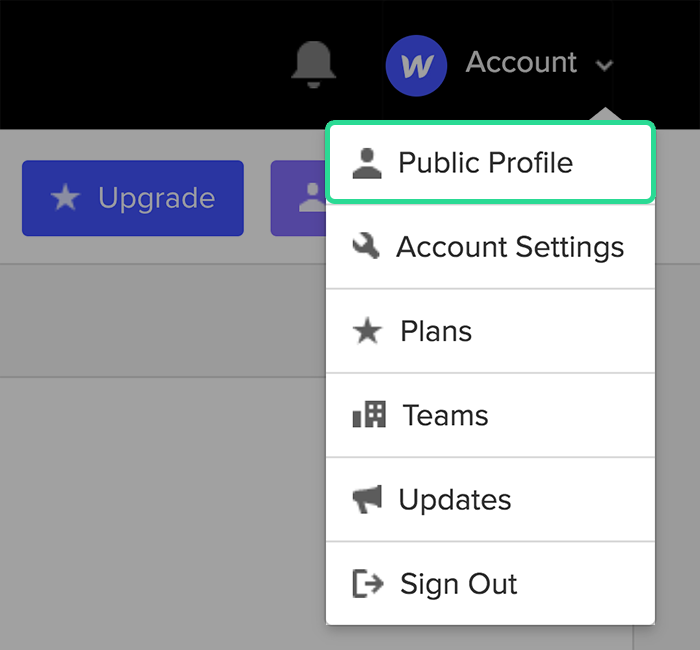Go to your Public profile from your account menu