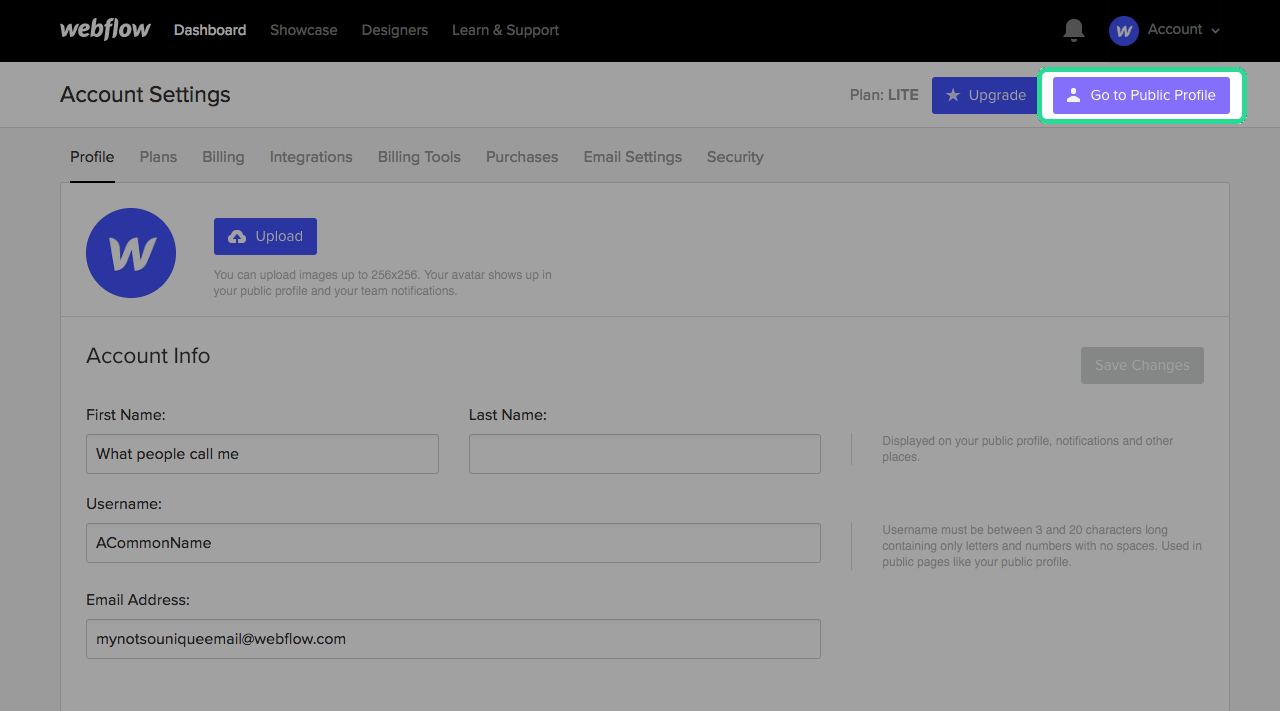 Go to your Public profile from your account settings page