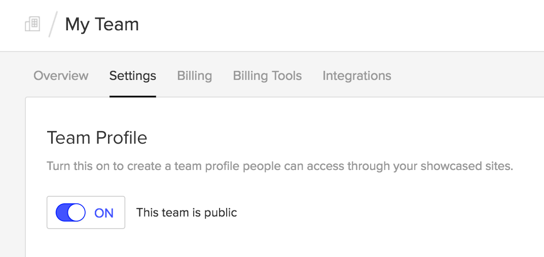 Make your team public to create a team profile and showcase your team projects.