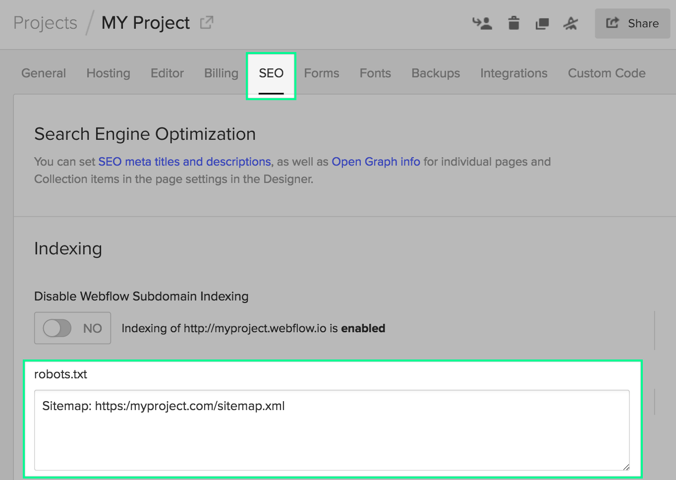 Add a sitemap in the robots.txt file