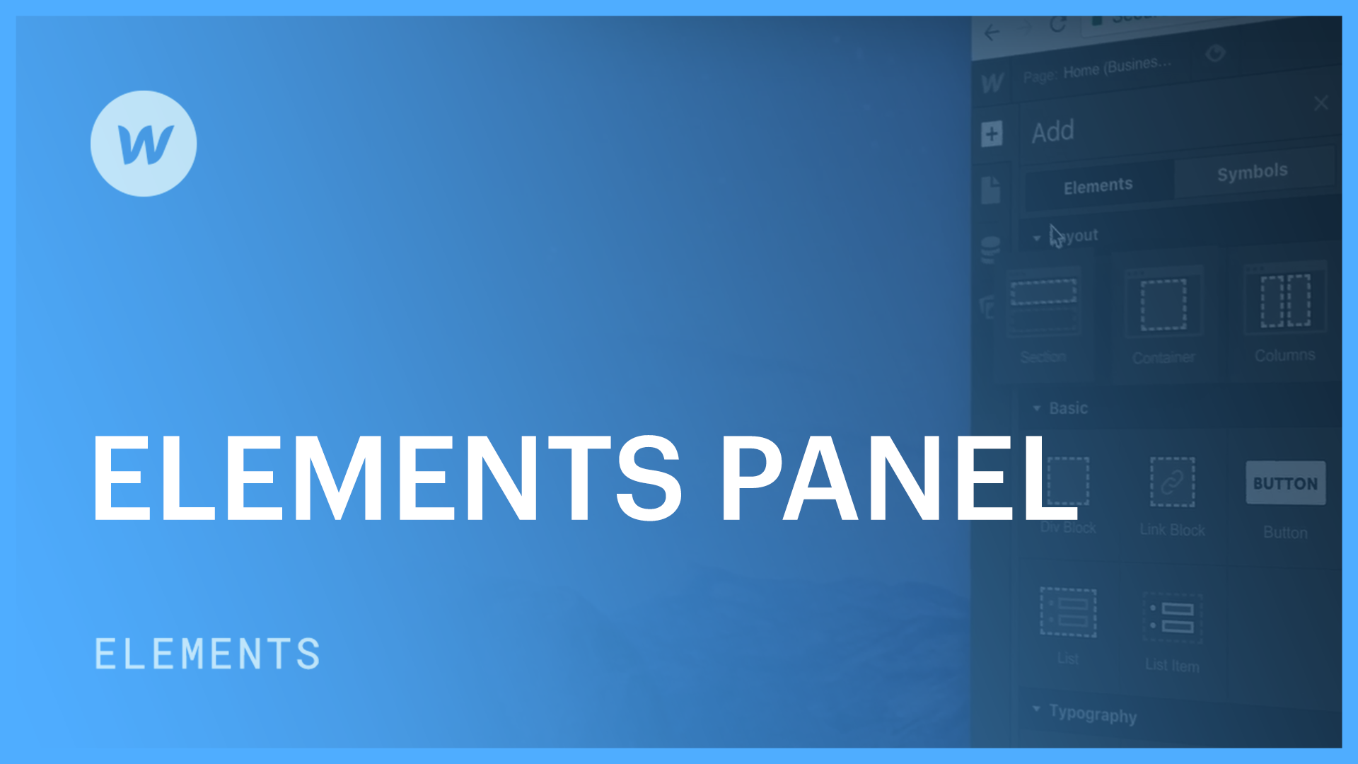 Add Elements Panel