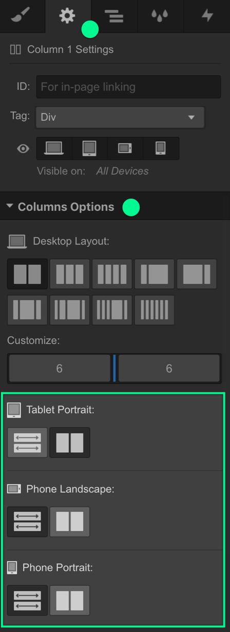 Columns Options