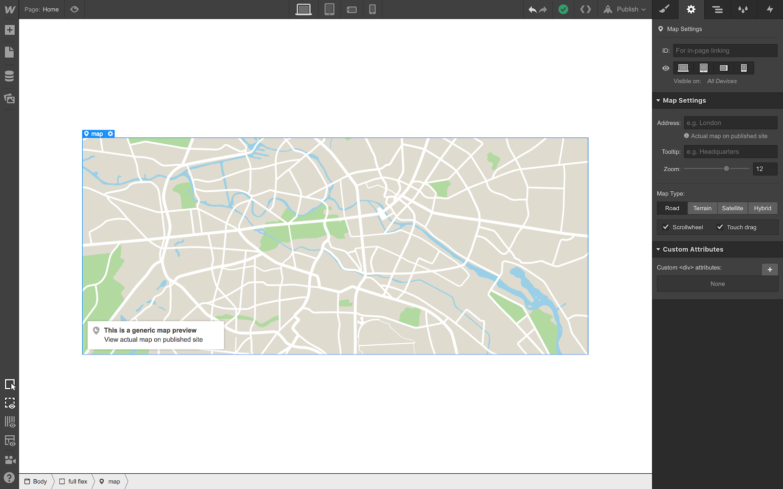 This is a generic preview — you can view the actual map on your published site.
