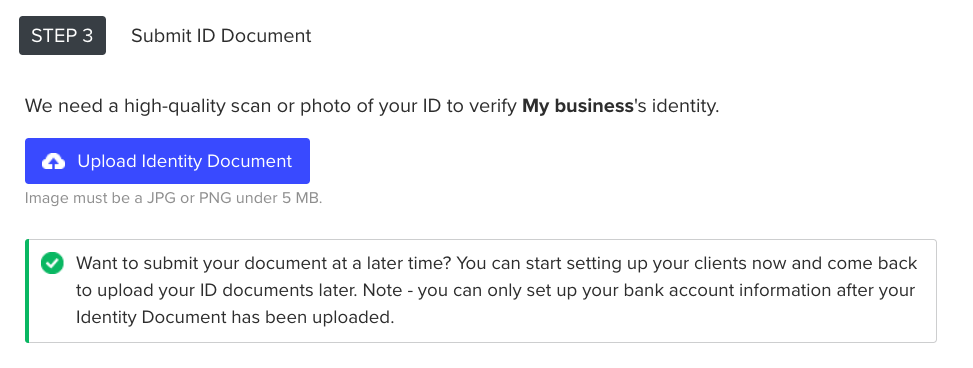 Submit your ID document.