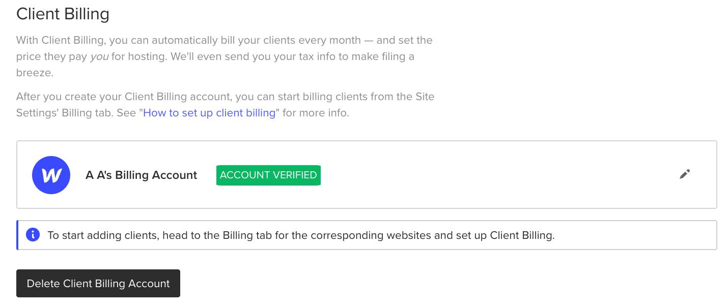 Delete your Client Billing account