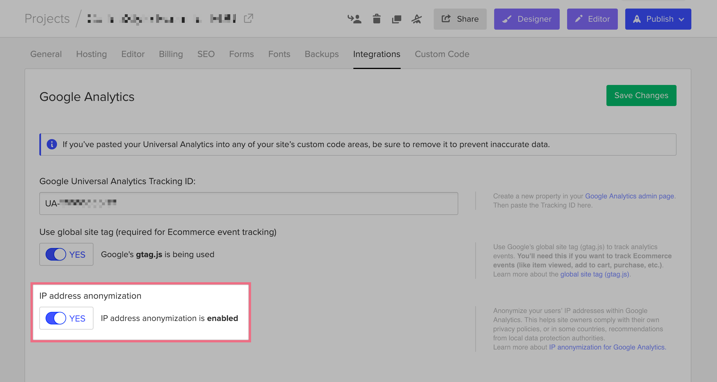 Enable IP anonymization in Google Analytics through Webflow to meet requirements by data protection authorities