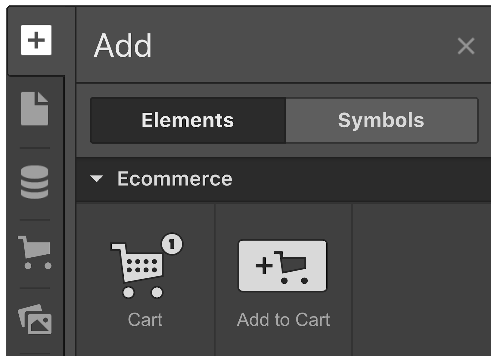Add a cart from the Add panel.