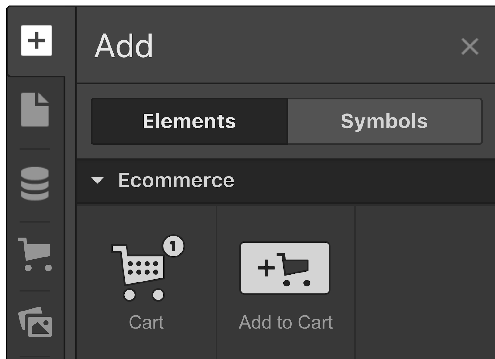 "Add an ""Add to cart"" button from the Add panel."