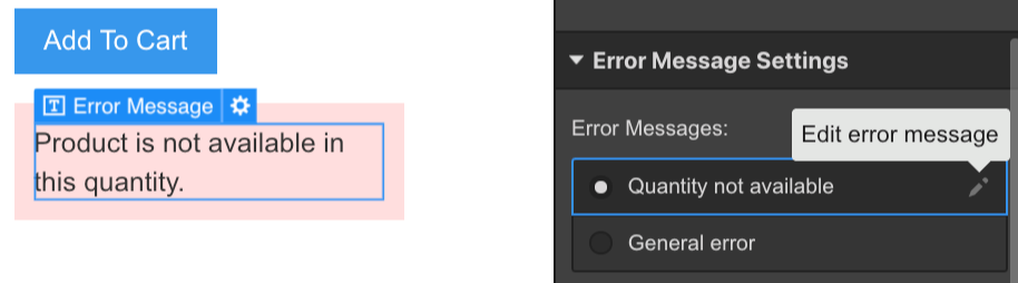 Edit the error messages from the element settings panel