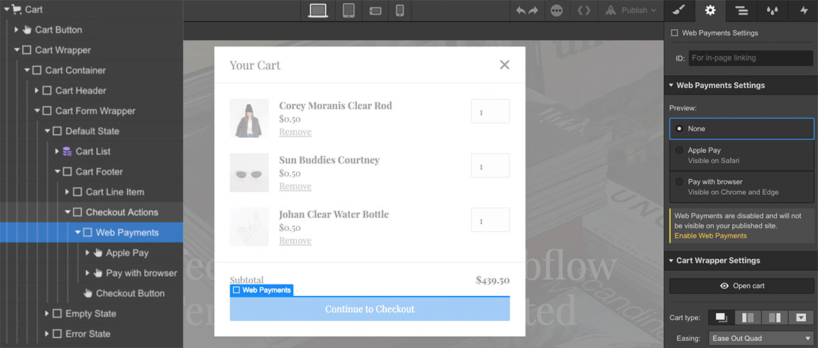 Access the Web Payments Settings in the cart