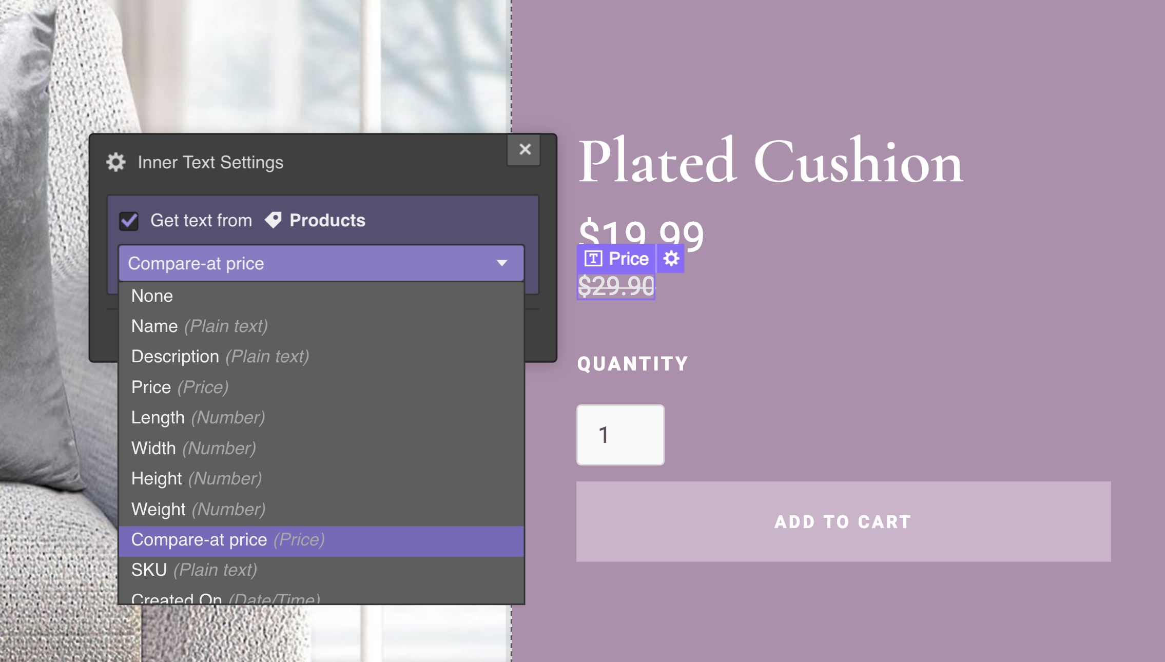 Connect a text element on your product page to the compare-at price, then style as needed.