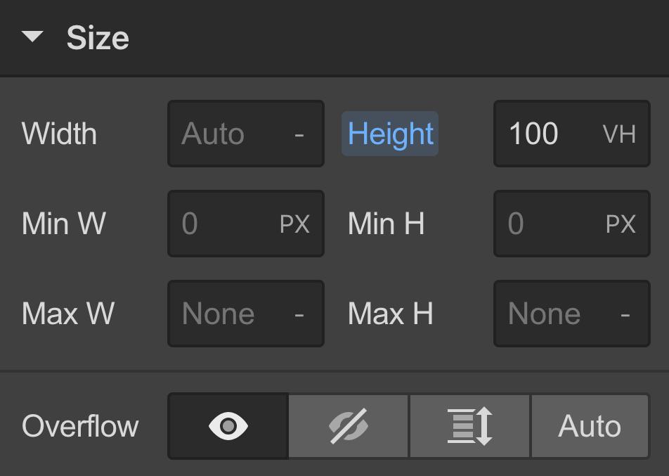 Size settings (width & height) | Webflow University