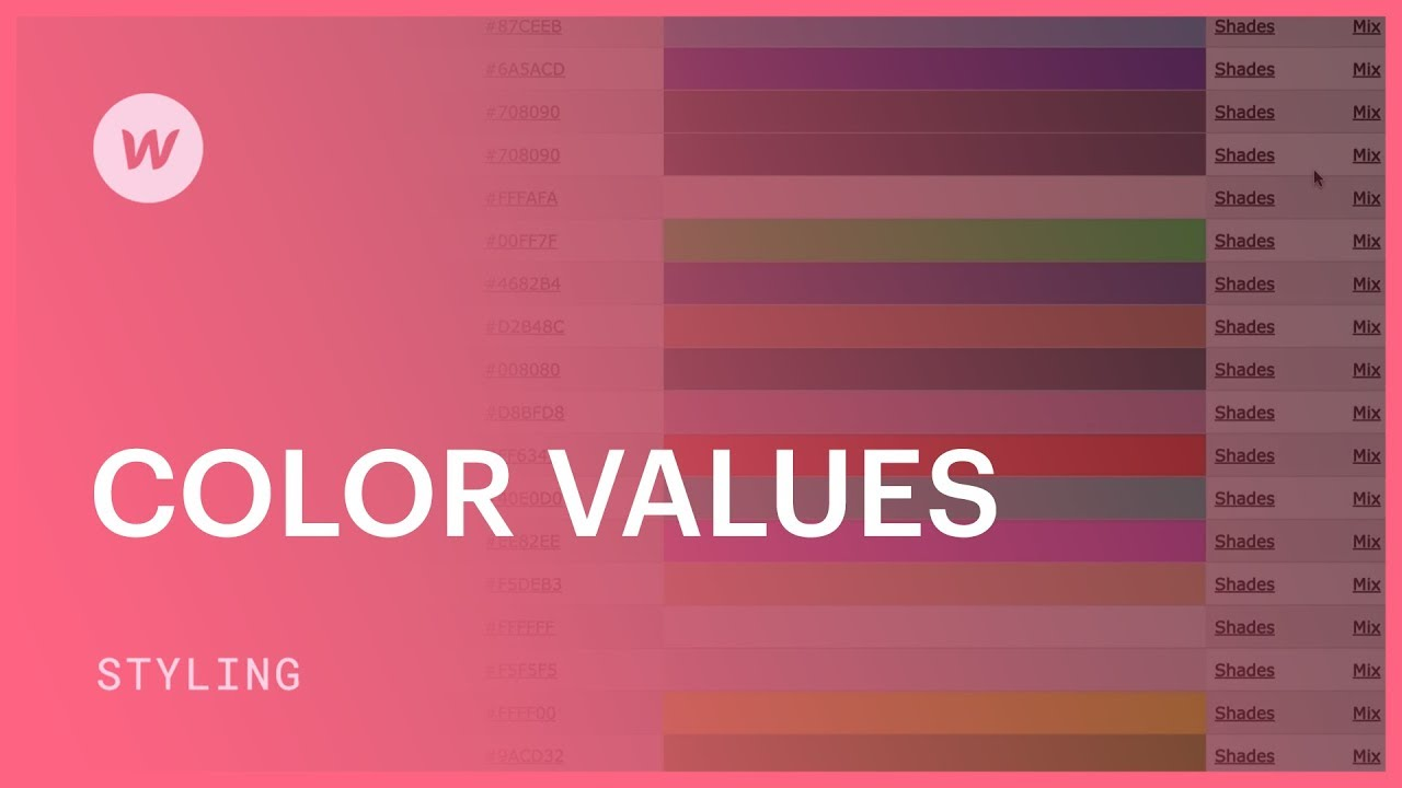 Color Values (hex, rgba, color names)