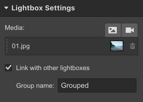 Webflow Lightbox Settings - Groups