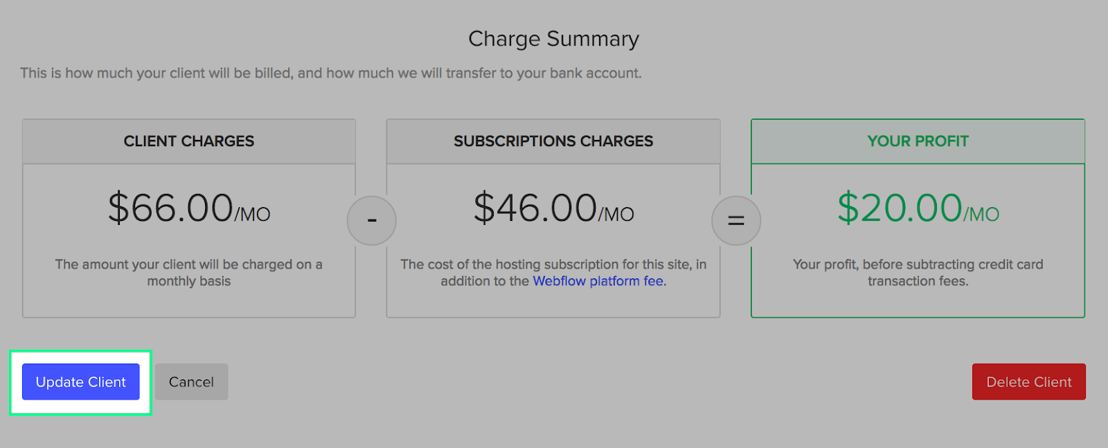 Update client to save your changes