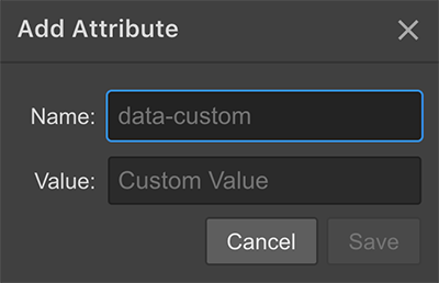 Adding custom HTML attributes in Webflow