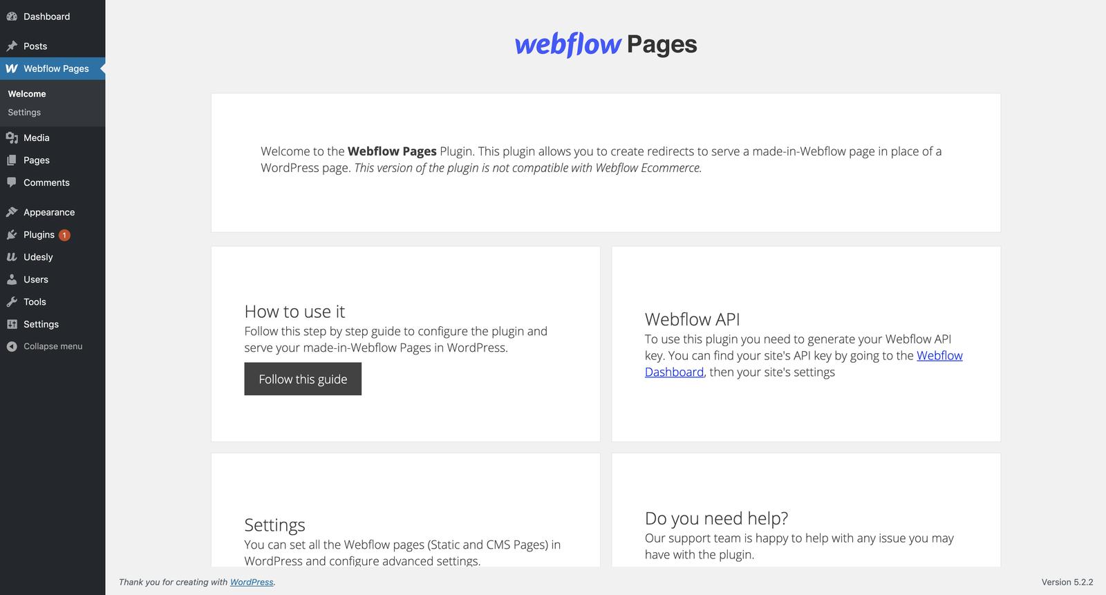 Webflow Pages WordPress plugin