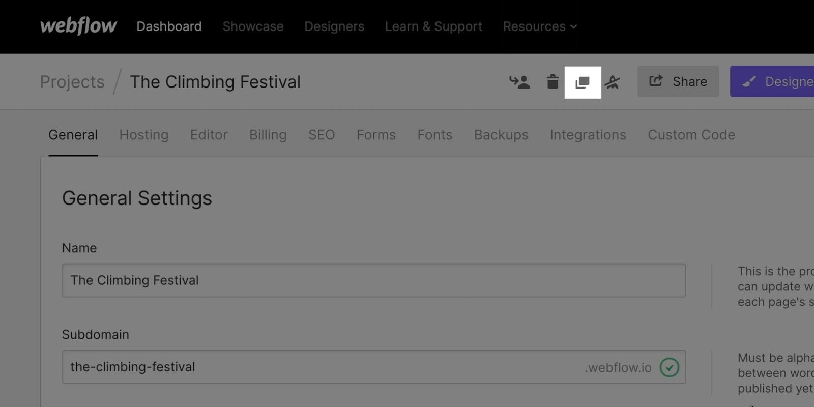 Duplicate a project in Webflow