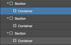 A common Webflow site structure, with containers nested inside sections.