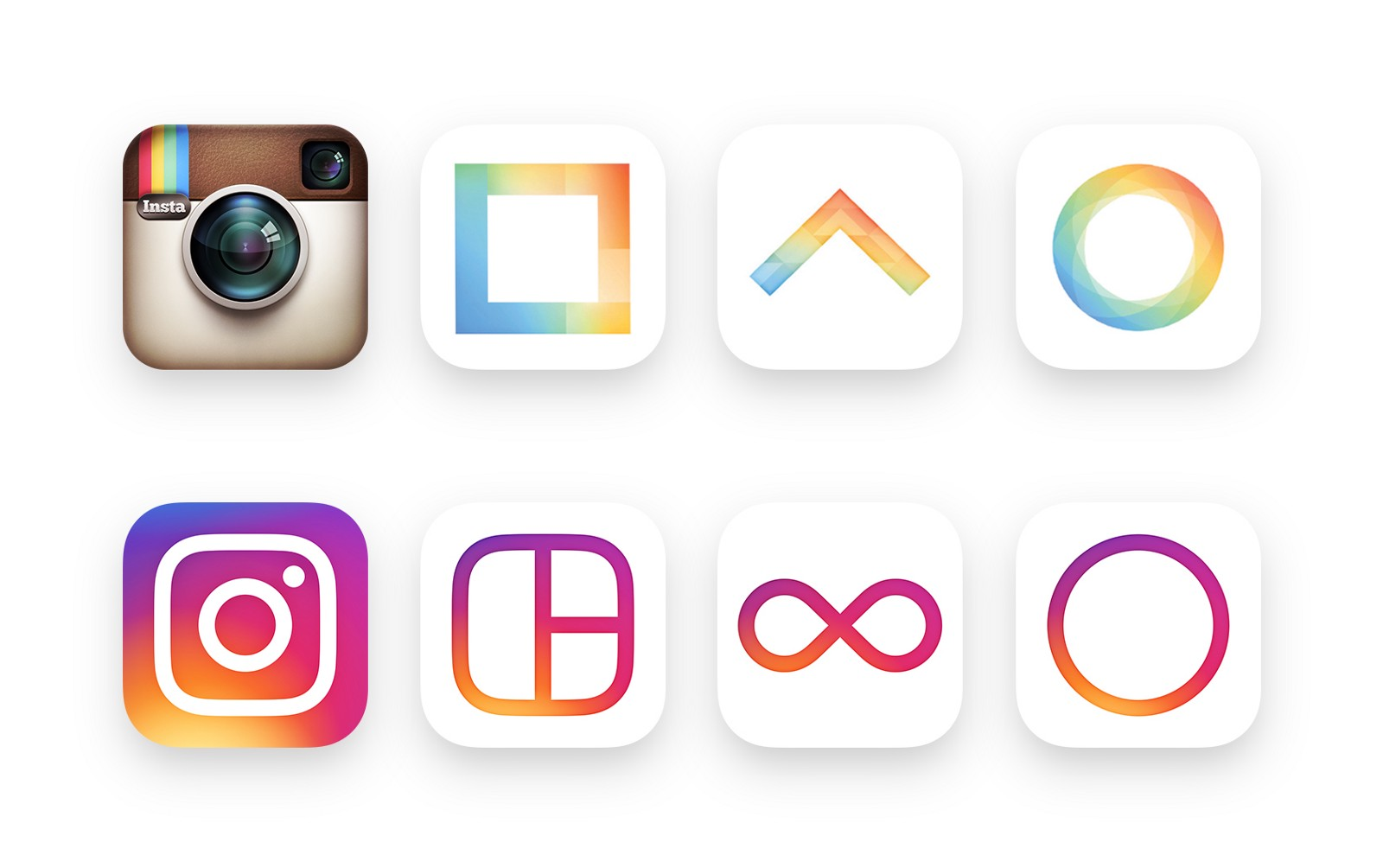 Comparison of Instagram icons before and after redesign