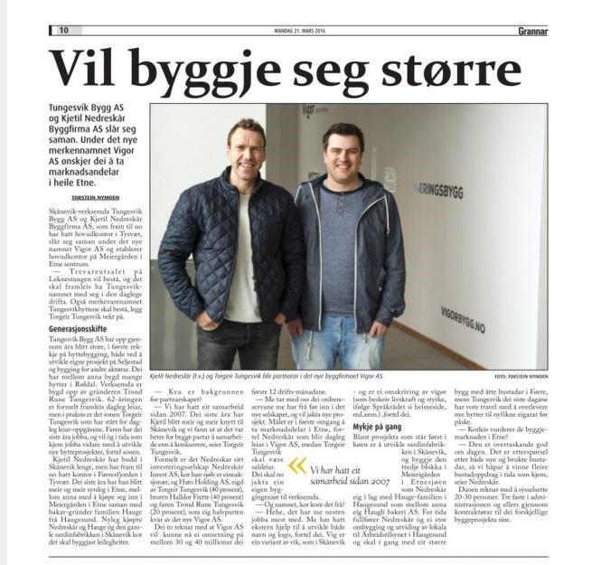 Faksimile av sak om nye Vigor i lokalavisa Grannar, frå 21. mars