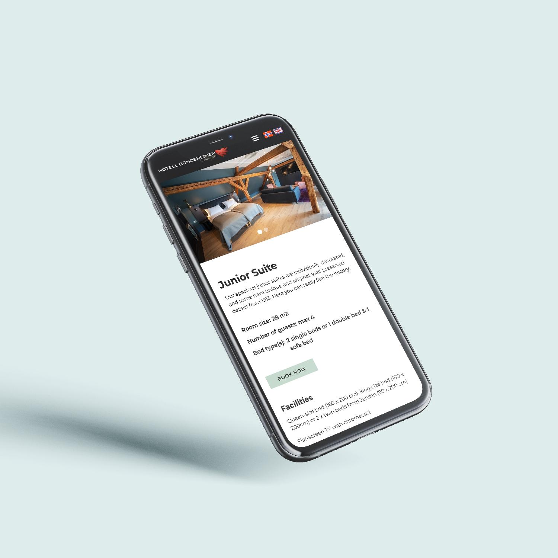 Mockup av nettsiden på mobil
