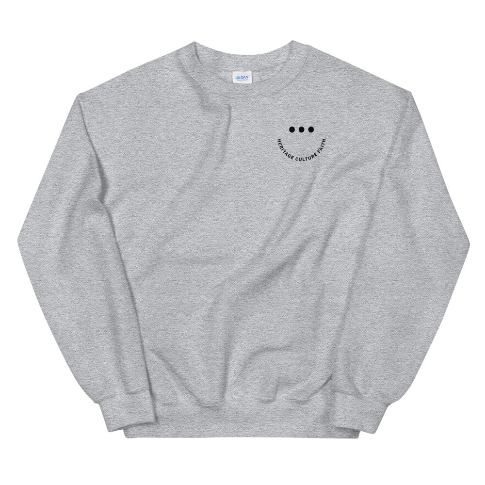 Heritage Culture Faith Smile Sweatshirt (White/Grey)