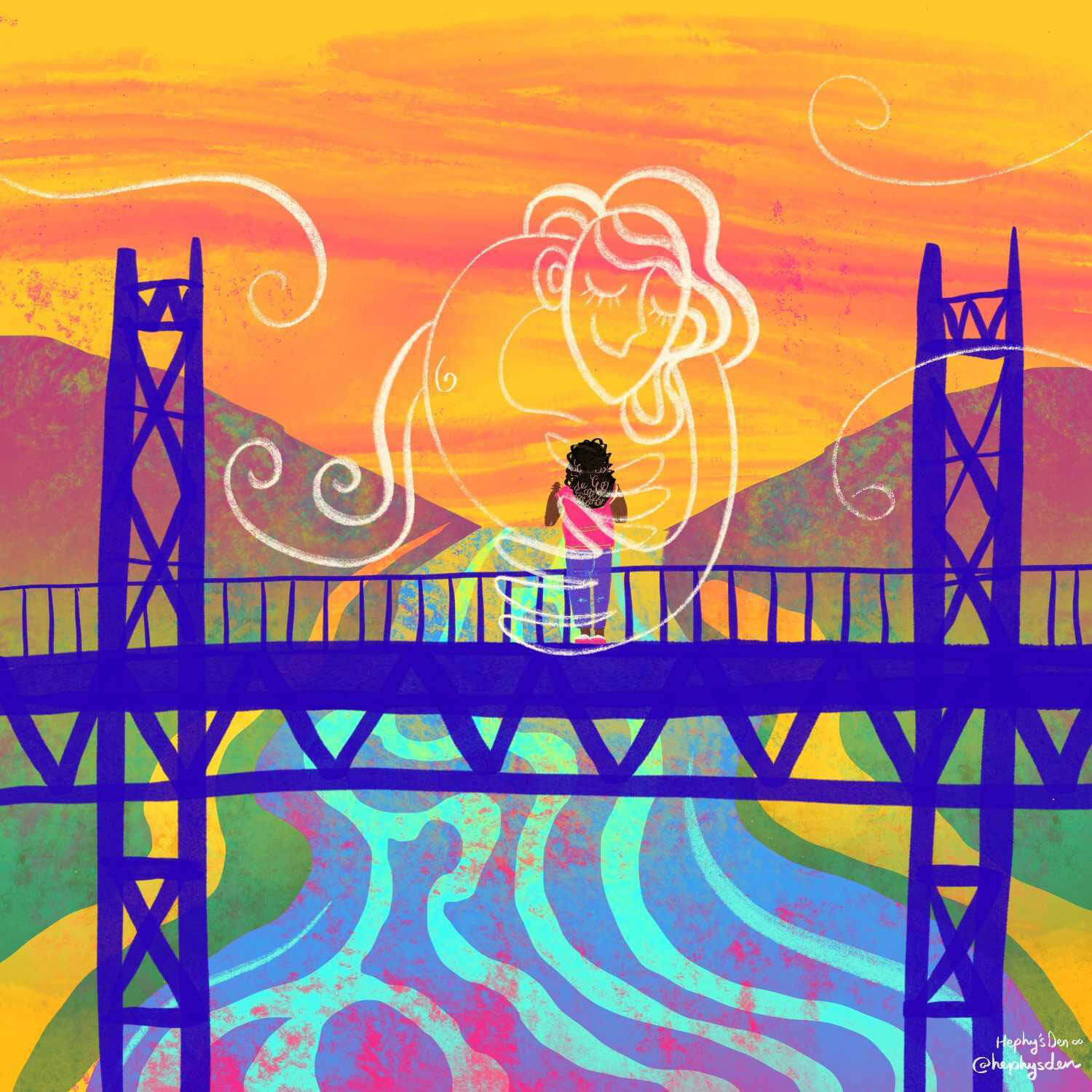 An illustration of a Black woman on a bridge, hugging the outline of another person.